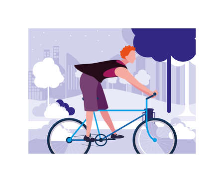 man with bicycle, man with healthy lifestyle vector illustration design