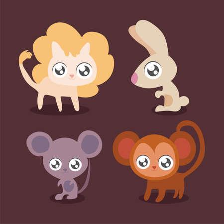 set of animals in kawaii style vector illustration design