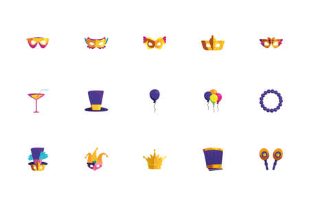 Mardi gras icon set design, Party carnival decoration celebration festival holiday fun new orleans and traditional theme Vector illustration Illustration