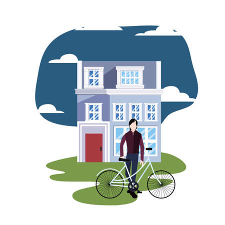young man riding bicycle in the city vector illustration