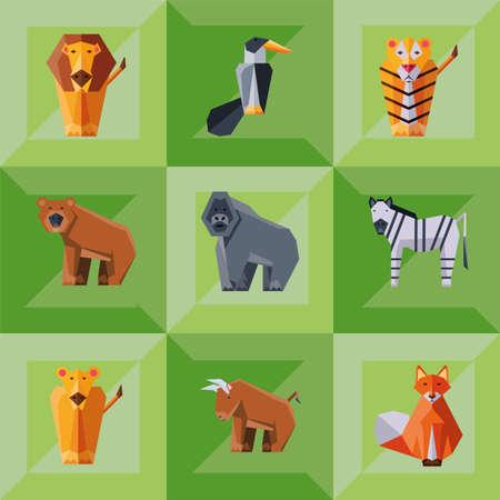 set of icons geometric wild animals vector illustration design
