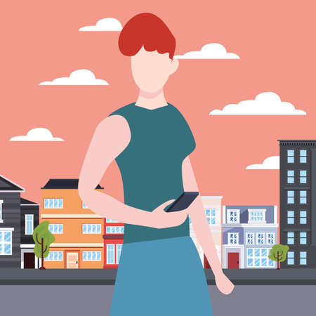 woman using mobile in the city street vector illustration