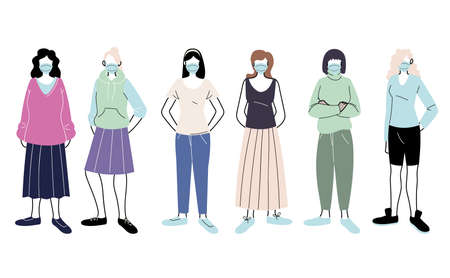 young women with medical mask standing on white background vector illustration design