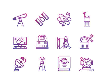 Icon set of space futuristic cosmos outside universe astronomy adventure and exploration theme Vector illustration Çizim