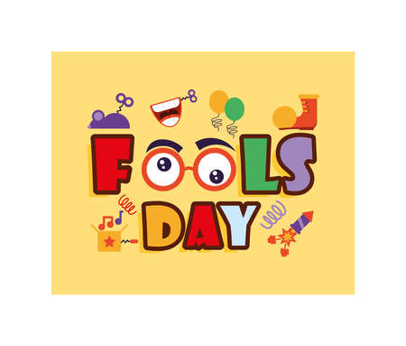card with label april fools day, humorous party vector illustration design Vettoriali
