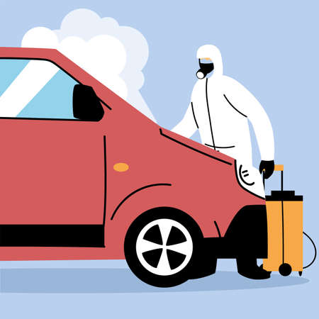 service van disinfection by coronavirus or covid 19 vector illustration design
