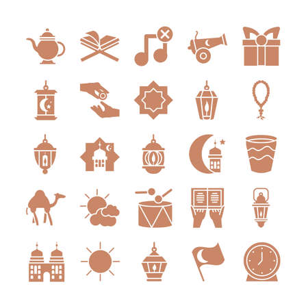ramadan concept of icons set over white background, silhouette style, vector illustration
