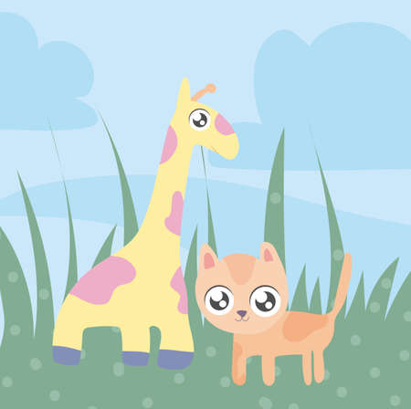 giraffe and cat, animals in kawaii style vector illustration design