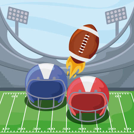 Helmets and ball over field design, Super bowl american football sport hobby competition game training equipment tournement and play theme Vector illustration