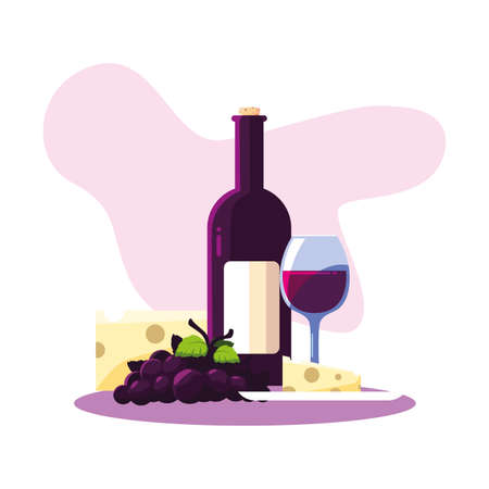 Wine bottle cheese grapes and cup design, Winery alcohol drink beverage restaurant and celebration theme Vector illustration