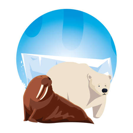 arctic animals in landscape with blue sky and iceberg vector illustration design