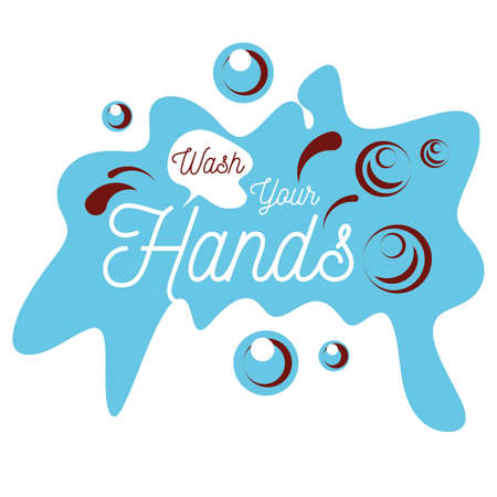wash your hands, hands wash with soap, poster vector illustration design Vettoriali