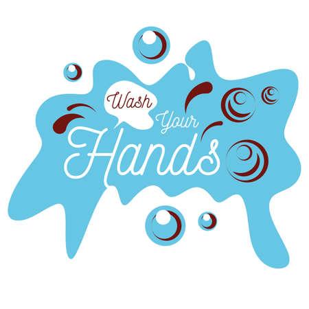 wash your hands, hands wash with soap, poster vector illustration design Ilustração Vetorial