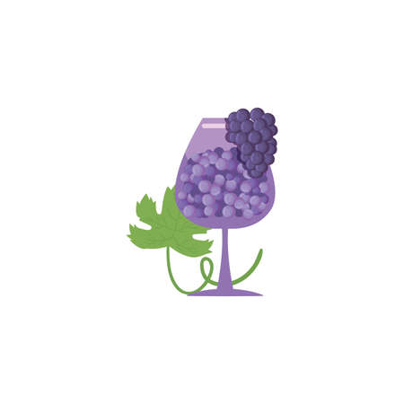 Grapes inside wine cup design of Winery alcohol drink beverage restaurant celebration and party theme Vector illustration