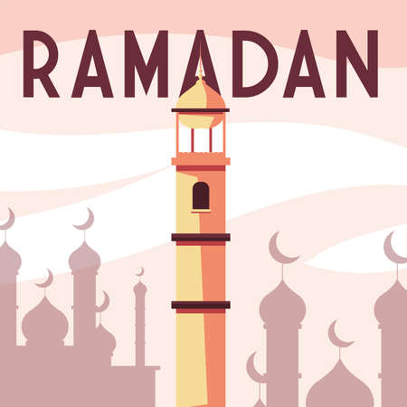 mosque building with label ramadan vector illustration design 向量圖像