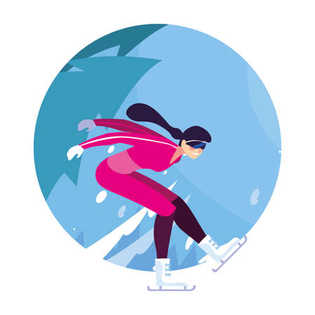 woman ice skating in landscape of winter vector illustration design Vettoriali