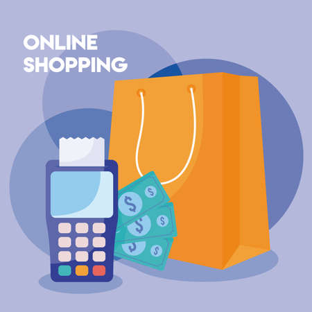 dataphone with icons of online shopping vector illustration design