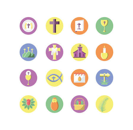 catholic related icons and happy easter icons set over white background, block style icon, vector illustration