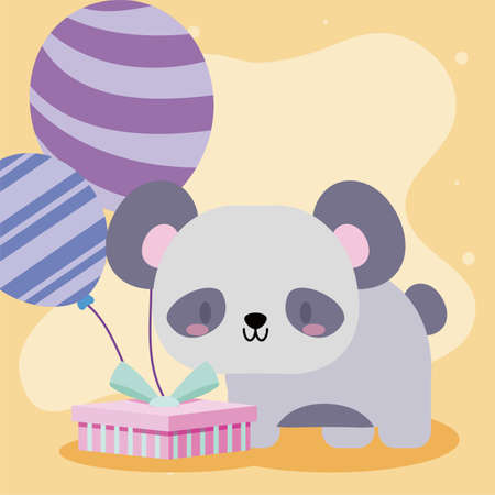 cute birthday card with bear baby kawaii vector illustration design