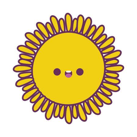 sun cartoon design, Kawaii expression cute character funny and emoticon theme Vector illustration