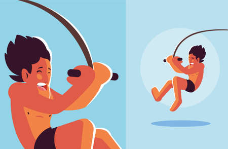 man jumping to the swimming pool vector illustration design