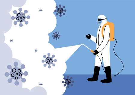 man wears protective suit, disinfection by coronavirus or covid 19 vector illustration design