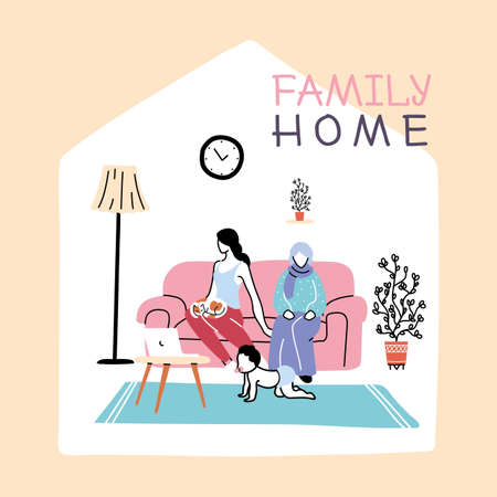 family members stay at home from coronavirus pandemic vector illustration design