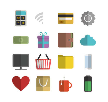 Shopping and ecommerce icon set design of Commerce market store shop retail buy paying banking and consumerism theme Vector illustration 일러스트