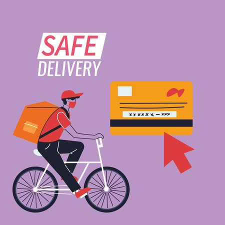 purchase by card and delivery by courier vector illustration desing