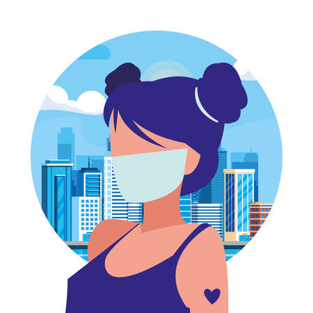 Woman in the city wearing face mask vector illustration design 일러스트