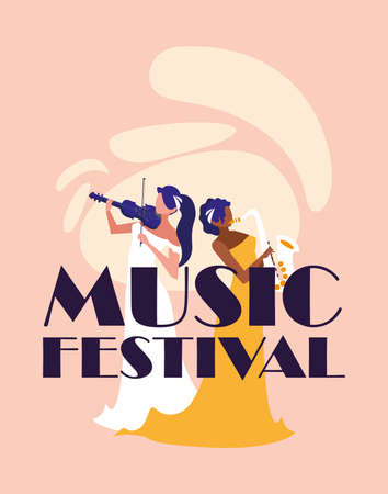 Musician women with fiddle and saxophone design, Music festival sound melody song musical art and composition theme Vector illustration