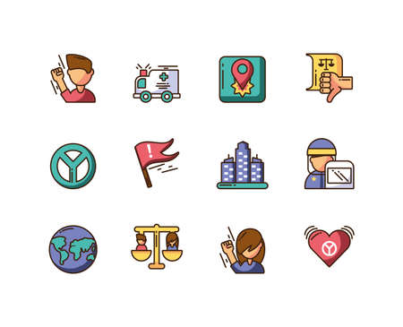 cartoon police and protest icons set over white background, colorful fill style, vector illustration design