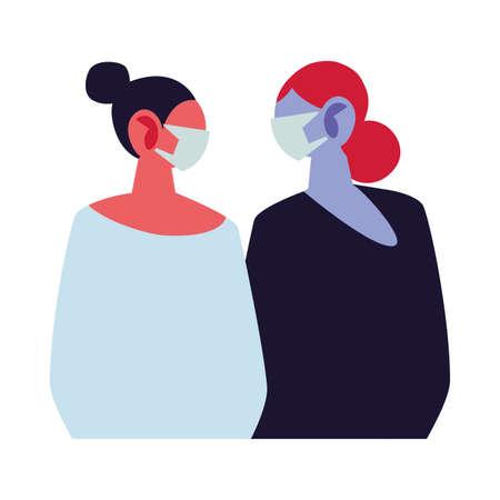 young women using face masks vector illustration design