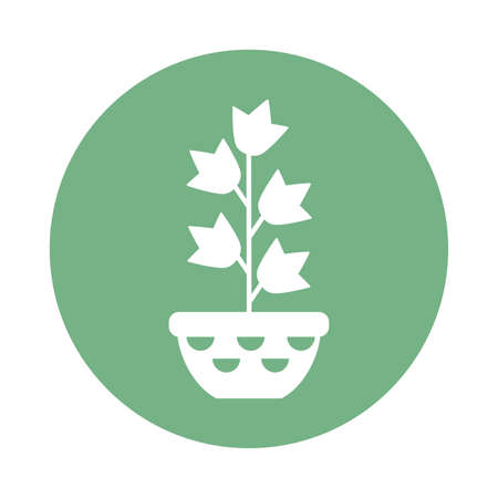 houseplant with potted, block and flat style icon vector illustration design Banco de Imagens - 150275271