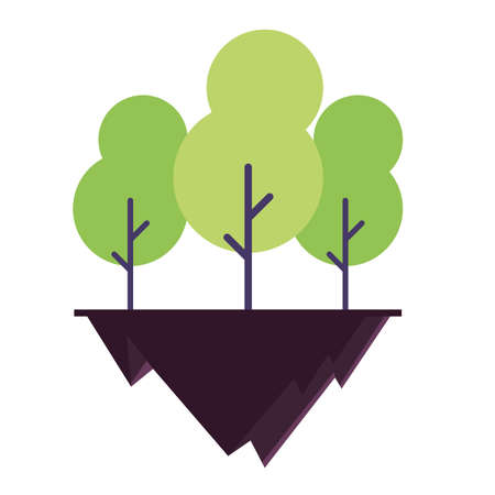 tree plants over terrain in white background vector illustration design Banco de Imagens - 150275272
