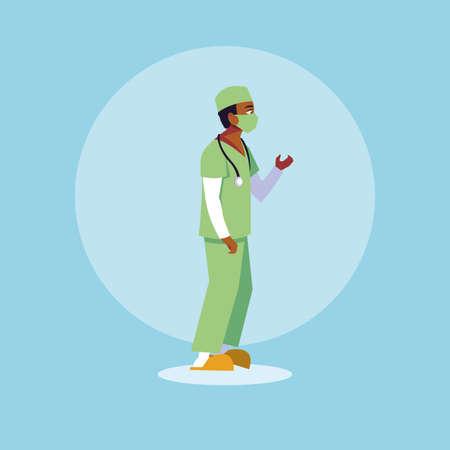 man doctor standing, medical staff vector illustration design