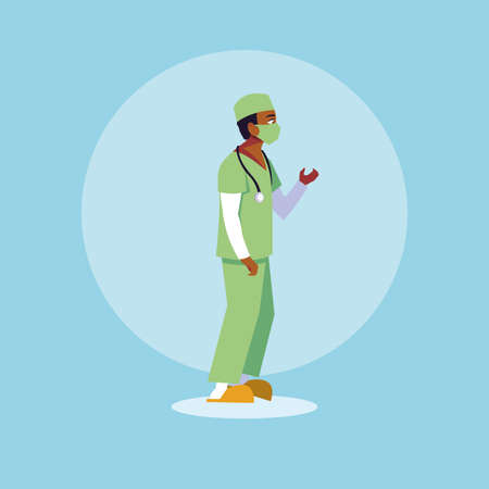 man doctor standing, medical staff vector illustration design 免版税图像 - 150275273