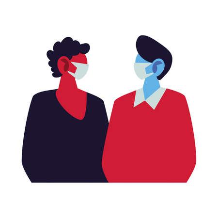 young men using face masks vector illustration design