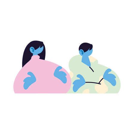 couple talking about topics of the day vector illustration design Vettoriali