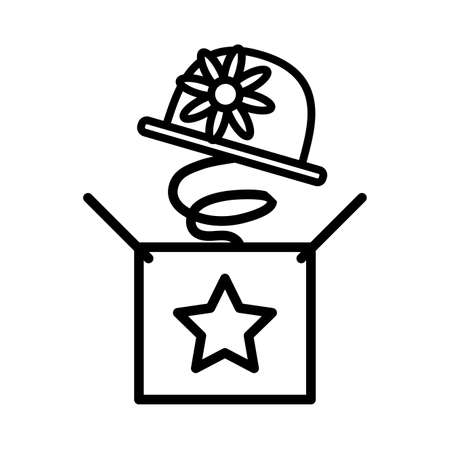 surprise box with a cute hat on white background vector illustration design