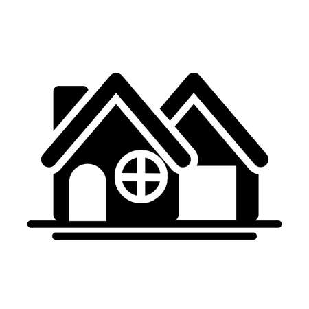 cute building of house , silhouette style icon vector illustration design
