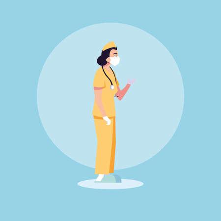woman doctor standing, medical staff vector illustration design 免版税图像 - 150275851
