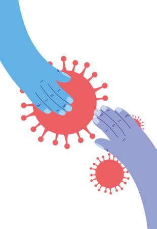 care in the hands of the coronavirus vector illustration design Illustration