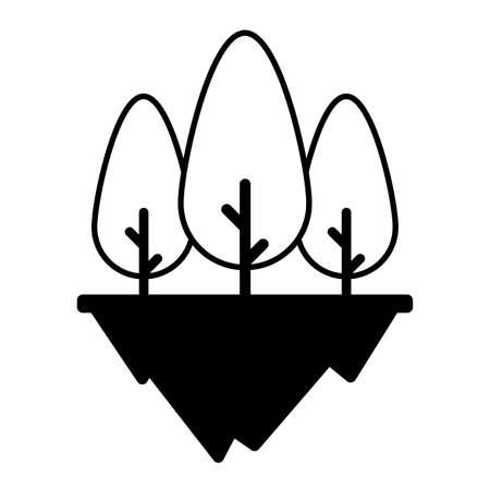 tree plants over terrain in white background vector illustration design