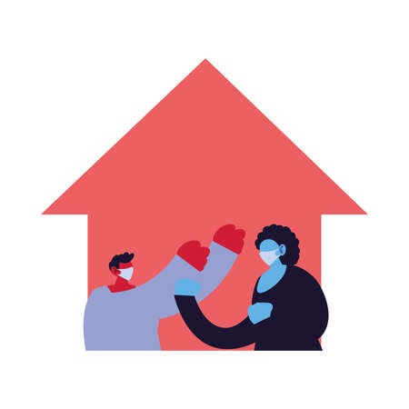 Couple at home using face masks vector illustration design
