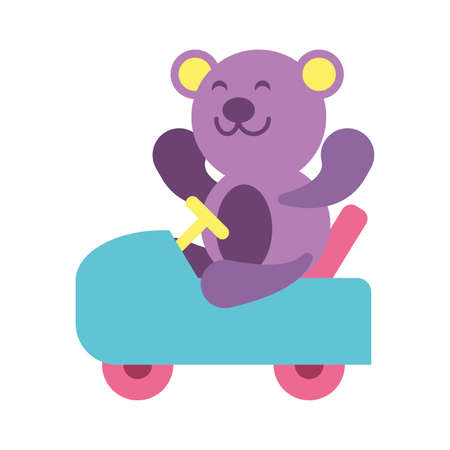 teddy bear with motorcycle toy on white background, baby toys vector illustration design