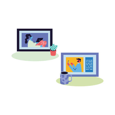 couple working by video call vector illustration design