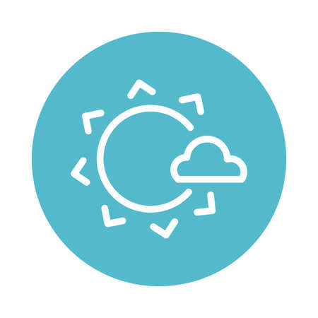 sun with cloud, block and flat style icon vector illustration design