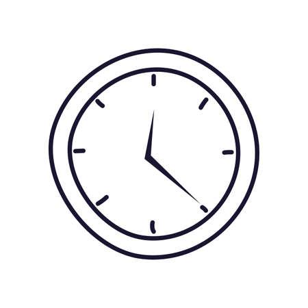 wall clock , line style icon vector illustration design