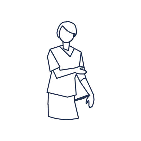 man doctor standing, medical staff , line style icon vector illustration design 矢量图像